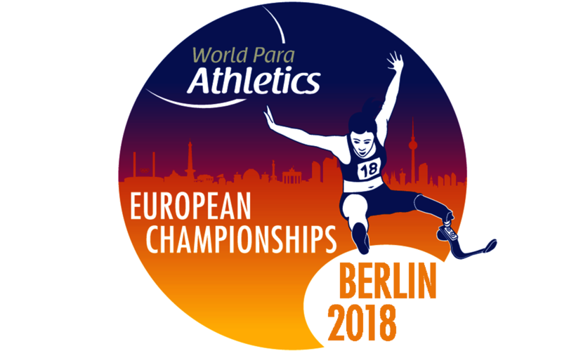 Das Logo der Para Leichtathletik-EM 2018 mit der Skyline von Berlin und einem Weitspringer mit Beinprothese - Aufschrift: World Para Athletics European Championships Berlin 2018